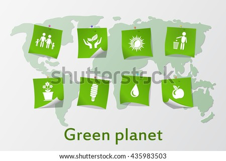 The green planet. Various eco icons on the world map. Protection of the environment. Vector illustration.