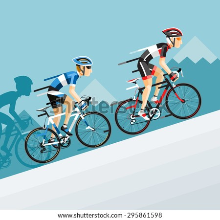 The Group of cyclists man in road bicycle racing go to the mountain. Vector illustrator. - stock vector