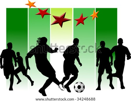 The group of football players plays football on a green background; - stock vector