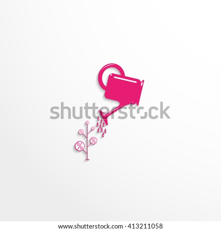 The growth of interest. Vector icon. - stock vector
