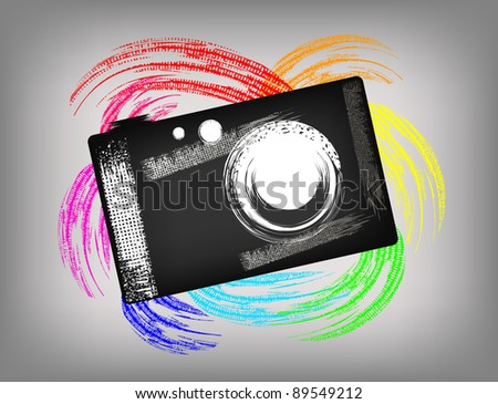 The grunge camera on a beautiful background - stock vector