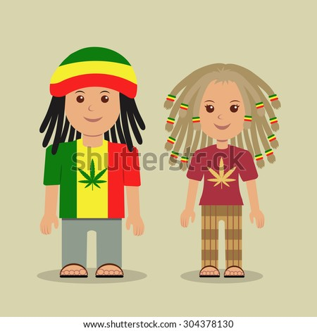 The guy and the girl with dreadlocks. Belonging to subculture the rastafarian. - stock vector