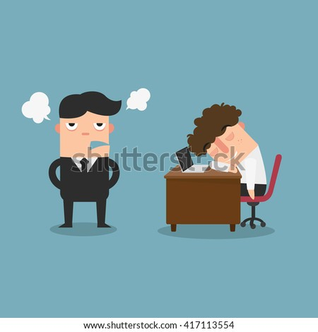 The guy is sleeping behind his desk while angry director is standing,illustration,vector
