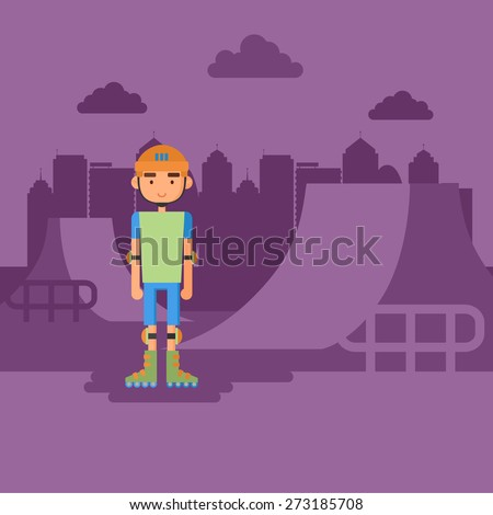The guy on roller skates in the park.  The flat style. - stock vector