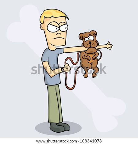 The guy said to his dog: okay, here's the deal. let my arm go, or you kiss your dinner goodbye. - stock vector