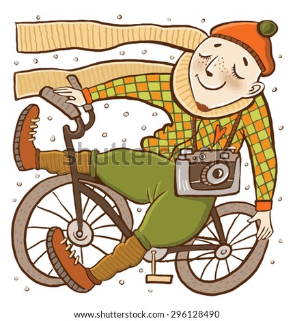 the guy with the bike. Funny illustration in a children's style