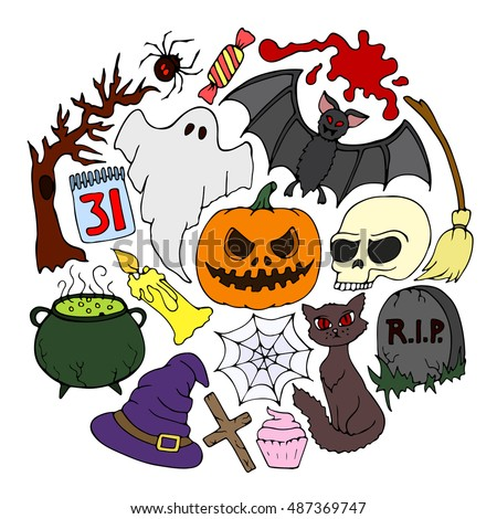 The Halloween set. Halloween pumpkin. Halloween party. Halloween holidays. Halloween candy. Halloween icon. Halloween logo. Halloween border. Halloween objects. Halloween art. Halloween illustration.