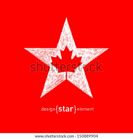 The hand draw Canadian maple Leaf in Vector Star - stock vector