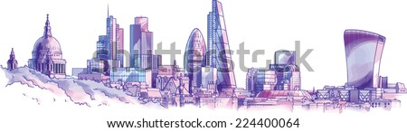 The hand-drown city skyline in a pastel shades. There are st.Paul's cathedral, an old heritage buildings, and the futuristic London city skyscrapers on a background. Editable vector EPS v10.0