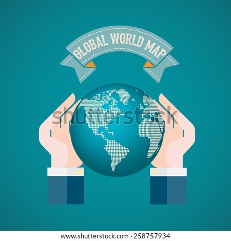 The hand holding the world on blue background vector illustration - stock vector