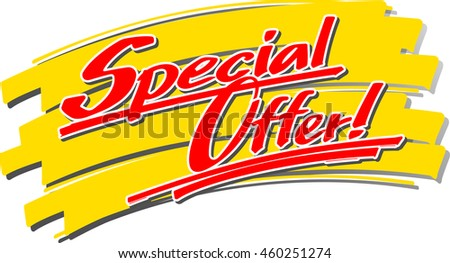 "The hand written word ""Special Offer!"" in front of a brush stroke"