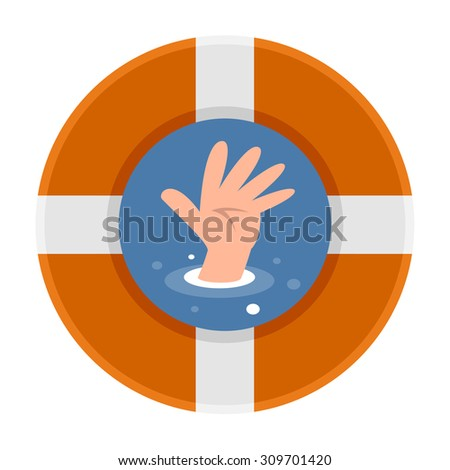 The hands of people who drown - stock vector