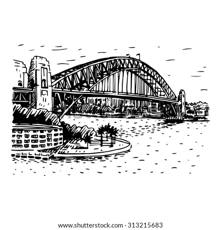 The harbour bridge sydney australia vector freehand pencil sketch