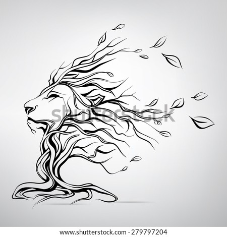Lion Side Face Vector