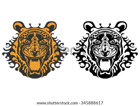 The head of a tiger on a white background. Vector