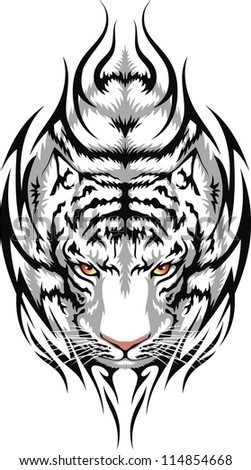The head of a white tiger is stylized in the form of a tattoo - stock vector