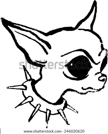 Chihauhau Kleurplaat Head Angry Dog Chihuahua Big Ears Stock Vector Royalty