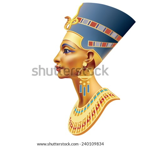 The head of the Egyptian queen on a white background - stock vector