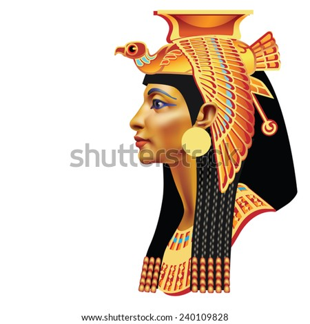 The head of the Egyptian queen with a falcon on a white background - stock vector