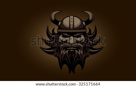 The head of the Viking - stock vector