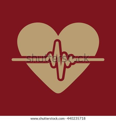 The heart icon. Cardiology and cardiogram, ecg, cardio symbol. Flat Vector illustration - stock vector