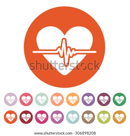 The heart icon. Cardiology and cardiogram, ecg, cardio symbol. Flat Vector illustration. Button Set - stock vector