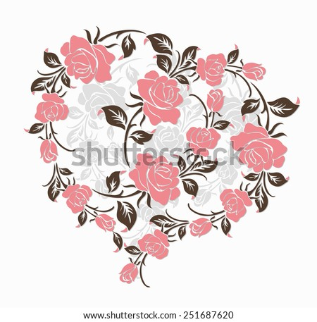 The heart of Rose ,vector design for valentine's day,wedding invitation. - stock vector