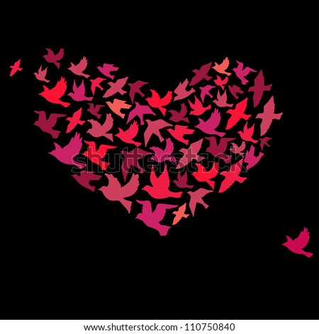 The heart of the birds. Can be used for postcard, valentine card, wedding invitation - stock vector