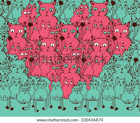 The Heart of the Cats. Hand drawn funny Cats in love. - stock vector