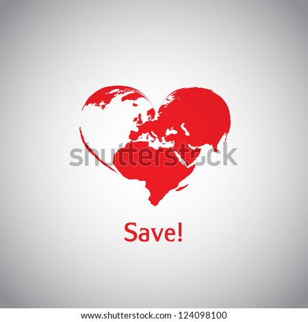 The Heart World - Save! - stock vector
