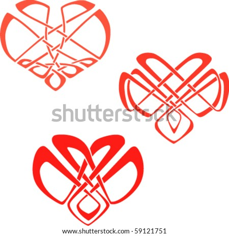 the hearts in the Celtic knot style ornament. eps8 - stock vector