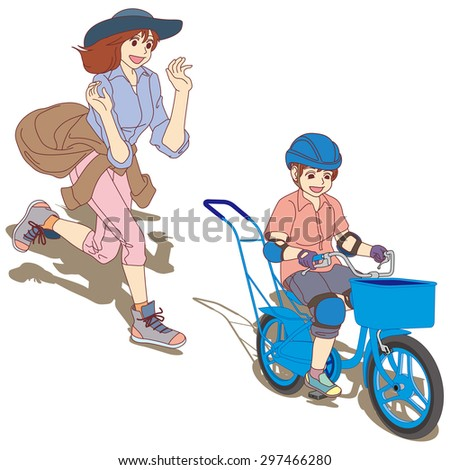 The heartwarming scene of Practice of a first bicycle. The Boys said, [ â??Goody!â?� I was able to ride a bicycle alone]. (Left front side perspective view.)