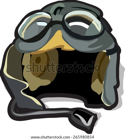 the helmet of a pilot with glasses - stock vector