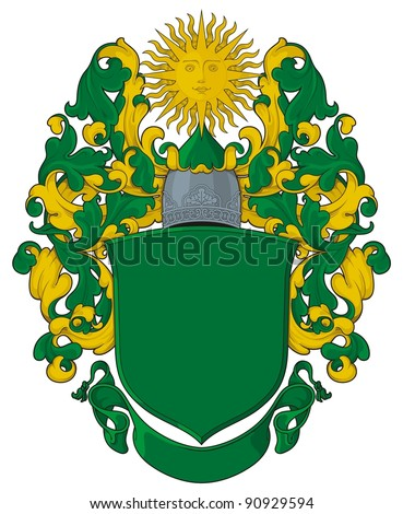 The heraldic template with a sun in crest. Heraldic template of the modern Russian personal arms. - stock vector