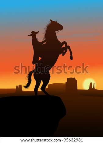The hero of the wild West leaves in a decline. - stock vector