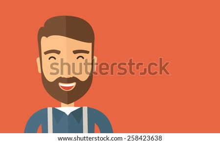 The hipster with a beard is laughing. Fun concept. Vector flat design illustration. Horizontal layout with a text space in a right. - stock vector