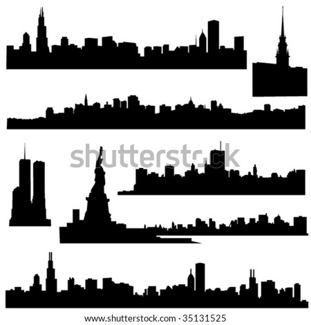 The history of American architecture and modern construction. - stock vector