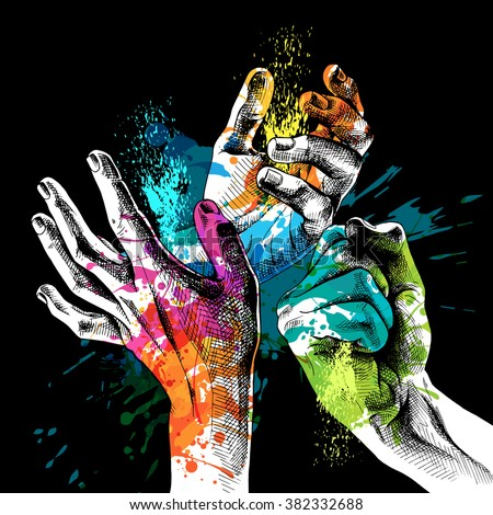 The Holi poster with image of the hands in colors. Vector illustration. - stock vector