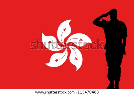 the hong kong flag and the silhouette of a soldier saluting