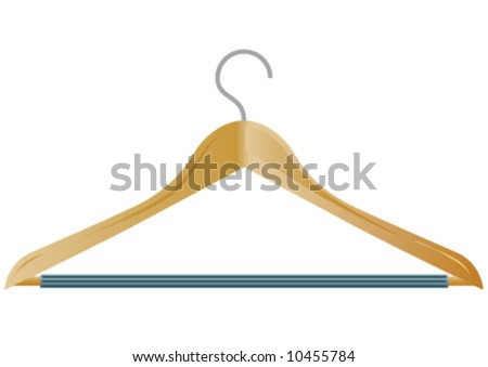 The hook on the wooden hanger - stock vector