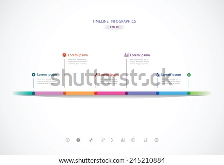 the horizontal timeline with six color points for information - stock vector
