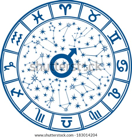 The Horoscope circle with  Zodiac signs and constellations of the zodiac.Inside the symbol of the male sign.Mans Horoscope.Vector illustration - stock vector