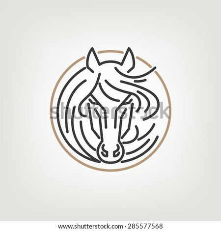 The Horse Head Outline Logo Icon Design. The horse head logo icon design in mono line style on the light background. - stock vector