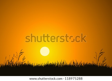 The hot glowing sun sets behind a hill silhouetting the field grass. - stock vector