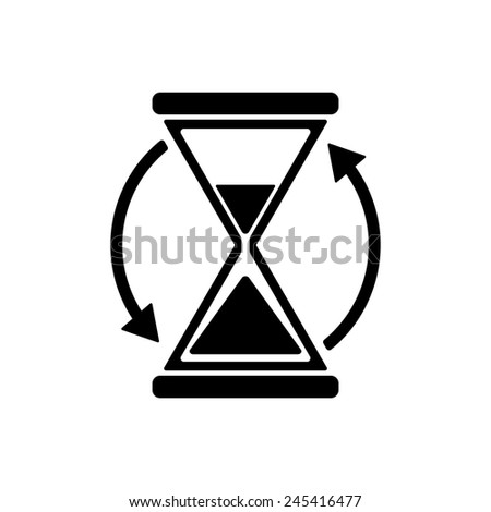 The hourglass icon. Clock symbol. Flat Vector illustration