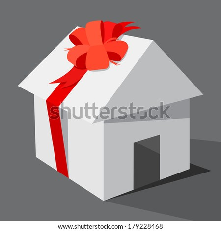 The house as gift, illustration vector design. - stock vector