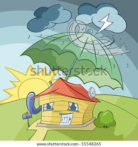 The house is covered from a rain by the big umbrella - stock vector