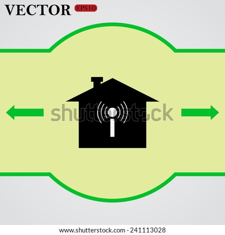 The house is surrounded by a network wi-fi ,  vector,  EPS 10