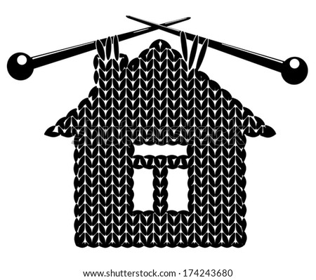 The house knitted on spokes. Silhouette isolated on white.Vector illustration. - stock vector