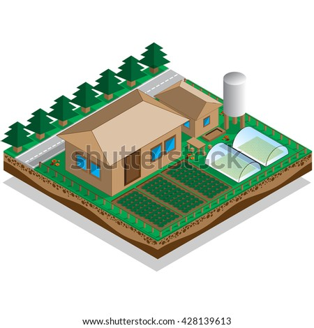 The house with a courtyard and garden. Isometric. Vector illustration.